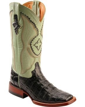 Ferrini Caiman Belly Crocodile Cowgirl Boots - Wide Square Toe, Black, hi-res
