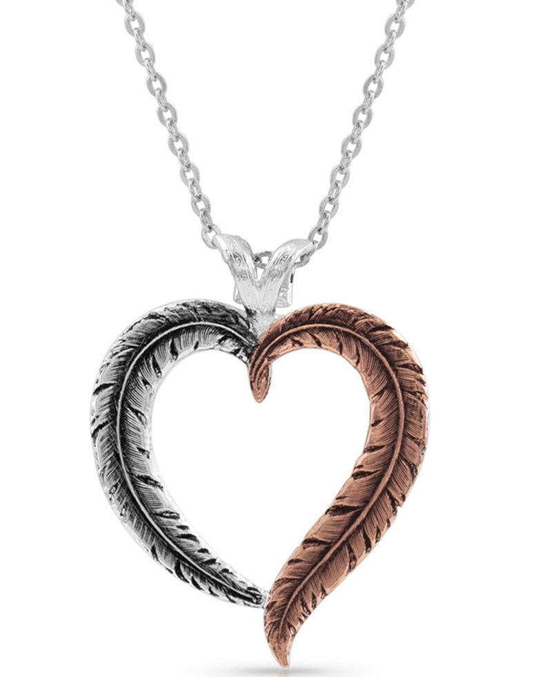 Montana Silversmiths Women's Hearts Aflutter Feather Necklace, Silver, hi-res
