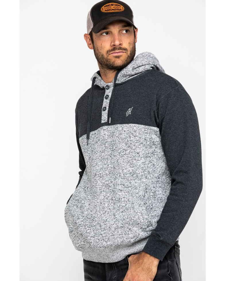 HOOey Men's Charcoal Jimmy Color Blocked Hooded Sweatshirt , Grey, hi-res