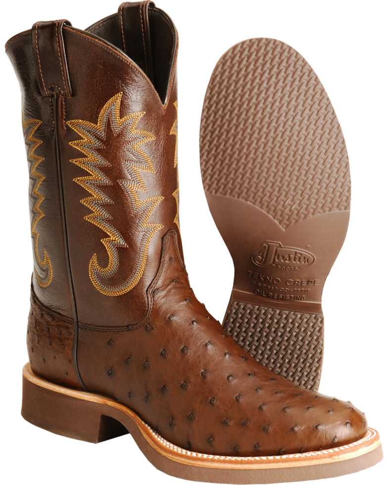 Justin Men's Full Quill Ostrich Western Boots, Brown, hi-res