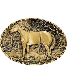 Montana Silversmiths Standing Horse Buckle, Gold, hi-res