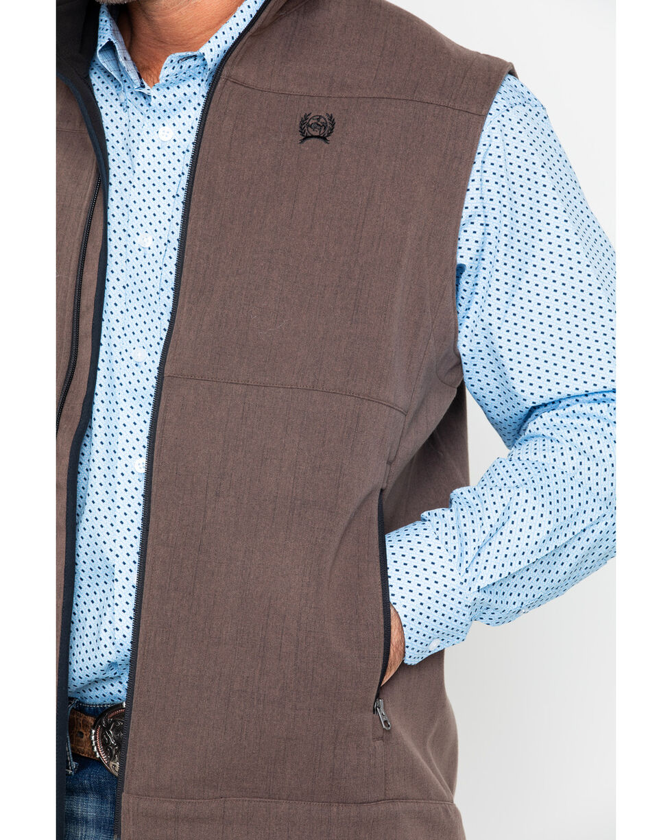 Cinch Men's Brown Textured Bonded Vest, Brown, hi-res