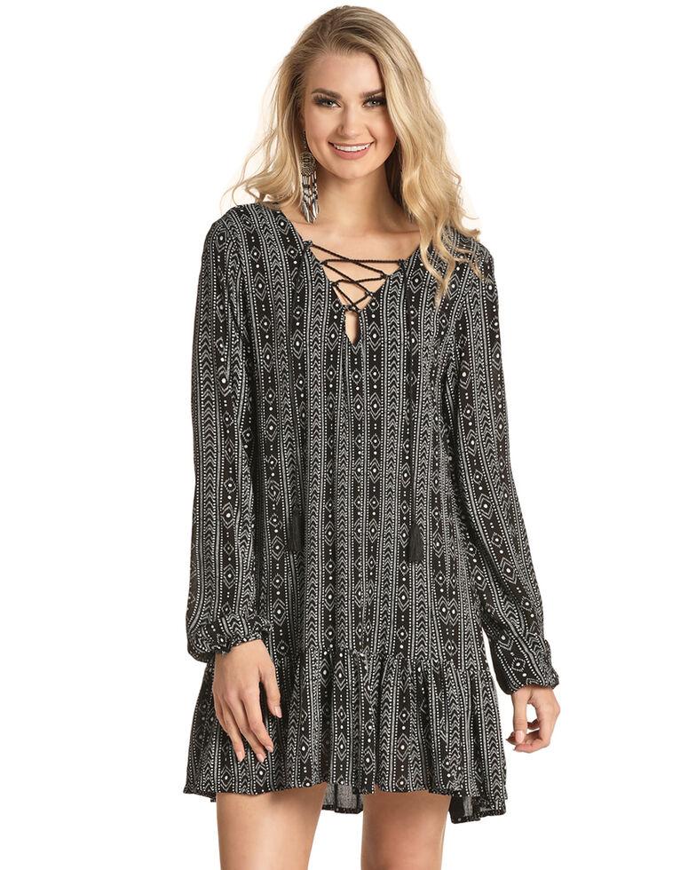 Rock & Roll Cowgirl Women's Aztec Lace Front Dress , Black, hi-res