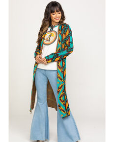 Rock & Roll Cowgirl Women's Long Aztec Cardigan, Multi, hi-res