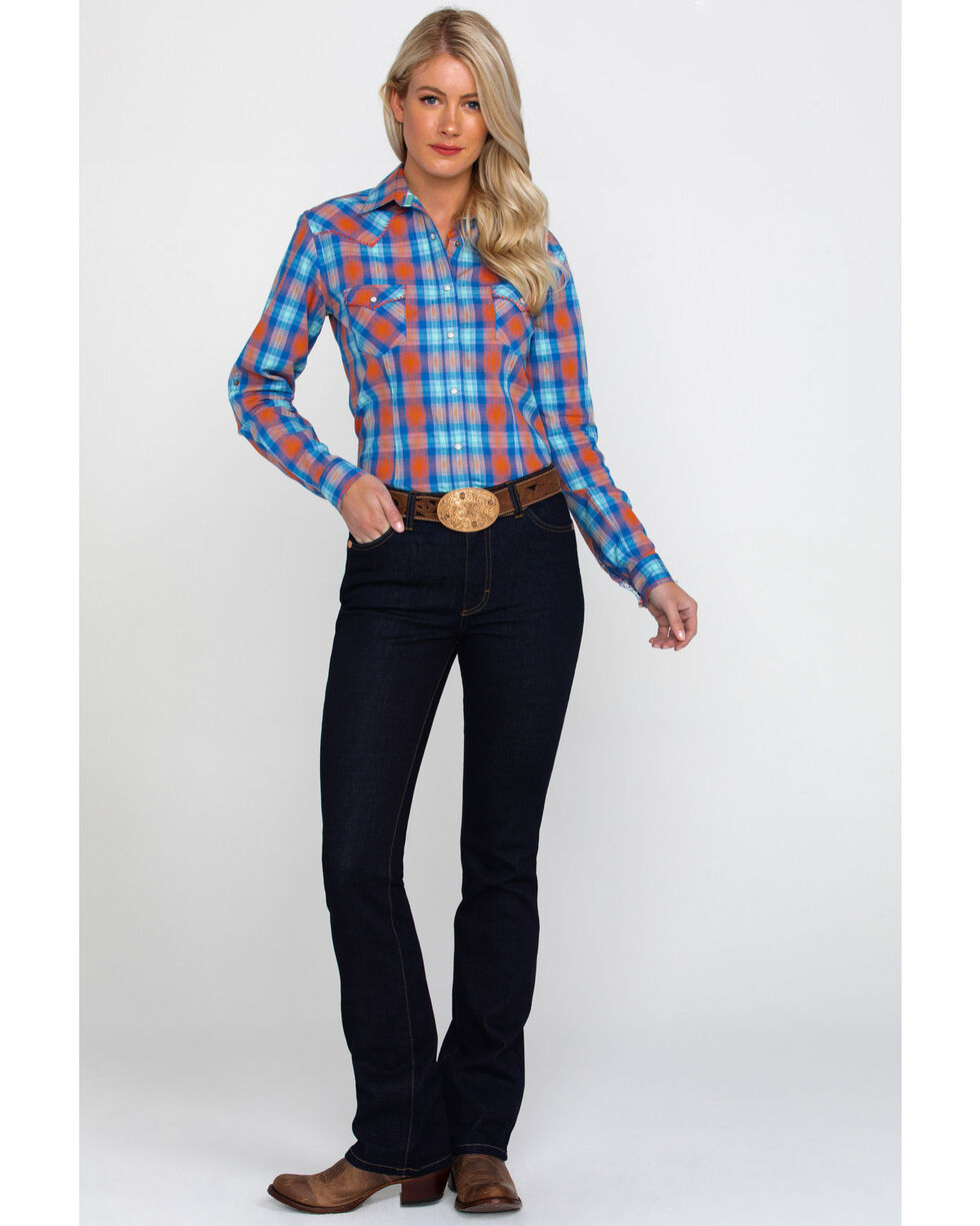Rough Stock By Panhandle Women's Ludlow Vintage Plaid Long Sleeve Western Shirt , Coral, hi-res