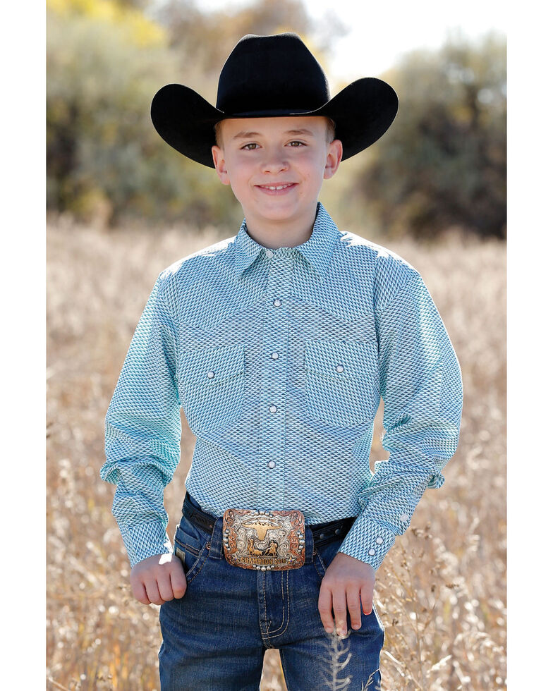 Cinch Boys' Light Blue Geo Print Snap Long Sleeve Western Shirt , Light Blue, hi-res