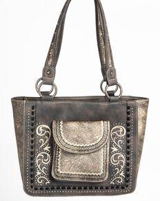 Shyanne Womens Tooled Metallic Pocket Tote Grey Hi Res
