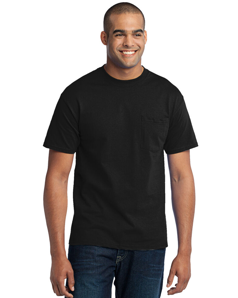 Port & Company Men's Jet Black 3X Core Blend Pocket Short Sleeve Work T-Shirt - Big , Jet Black, hi-res