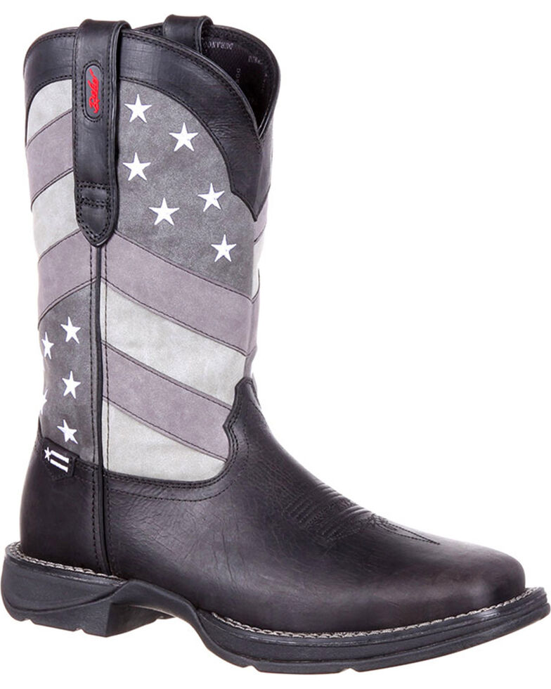 Rebel by Durango Men's Faded Flag Western Boots, Black, hi-res