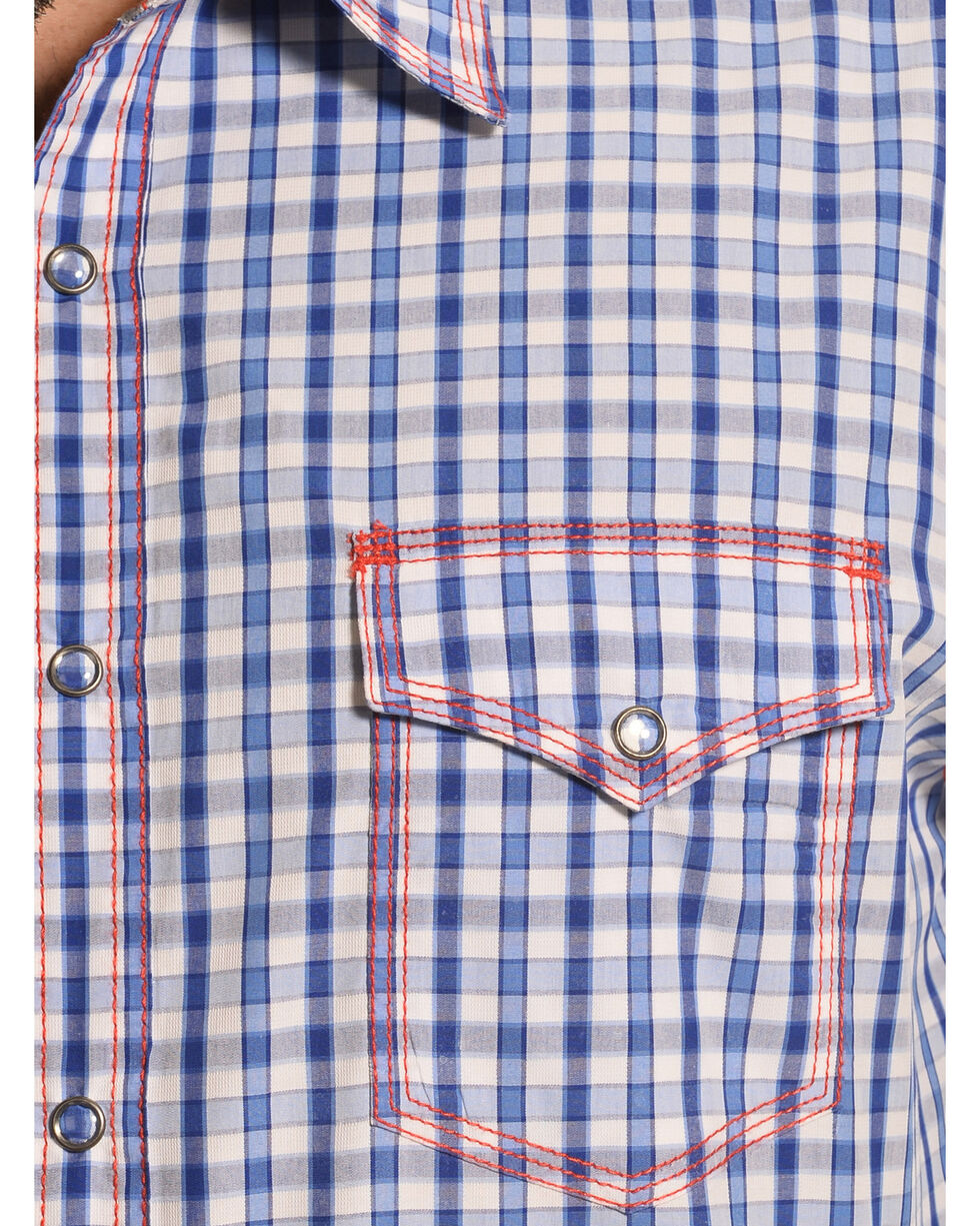 Wrangler Men's 20X Blue and White Check Western Shirt , Blue, hi-res