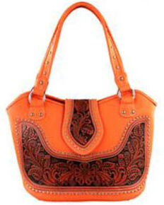 Montana West Women's Coral Tooled Concealed Carry Handbag, Coral, hi-res