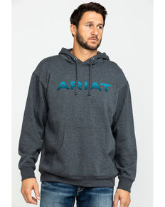 Ariat Men's Charcoal Logo Pullover Hoodie , Charcoal, hi-res