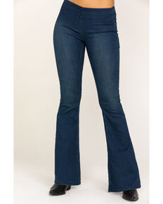 Free People Women's Dark Blue Flare Penny Pull On Jeans, Dark Blue, hi-res