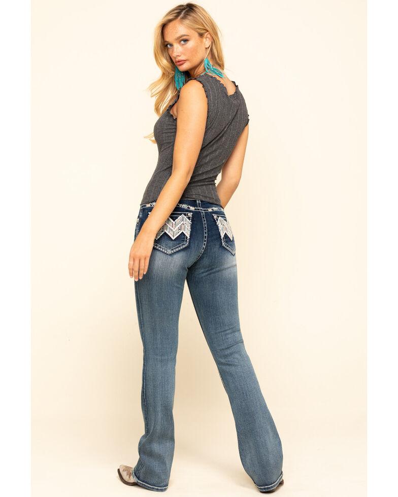 Grace in LA Women's Medium Wash Chevron Bootcut Jeans , Blue, hi-res