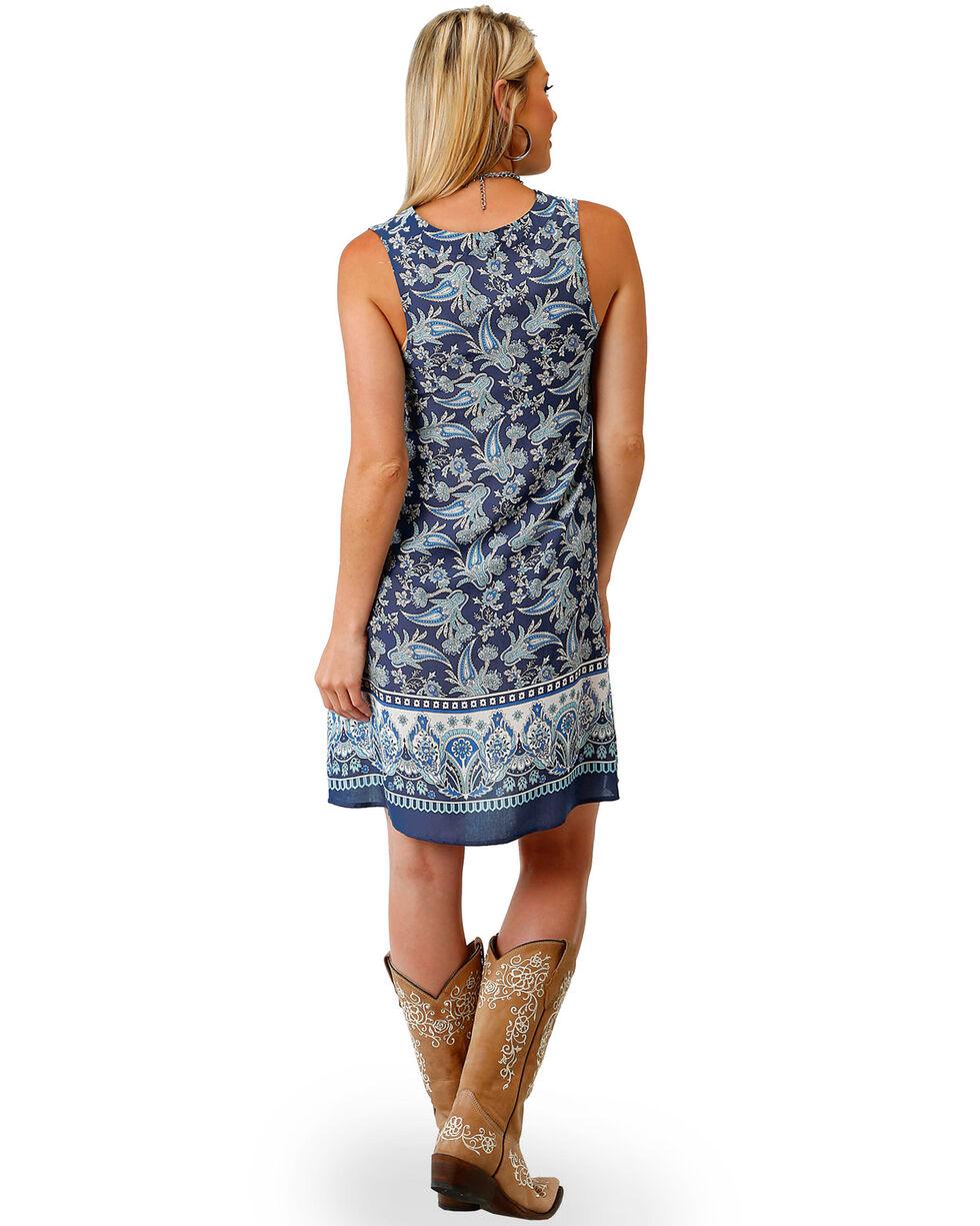 Roper Women's Blue Paisley Border Print Dress , Blue, hi-res