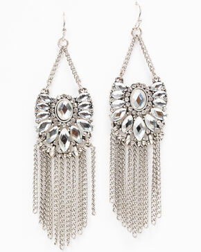 Idyllwind Women's Shine On Fringe Earrings, Silver, hi-res