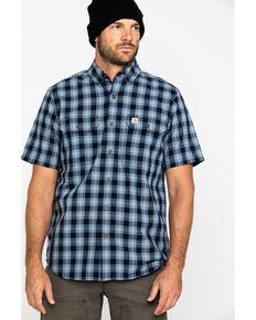 Carhartt Men's Grey Fort Plaid Button Short Sleeve Work Shirt , Navy, hi-res
