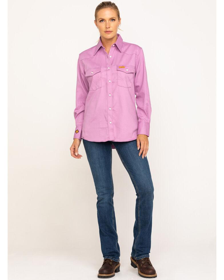 Wrangler Women's Flame-Resistant Long Sleeve Shirt, Purple, hi-res