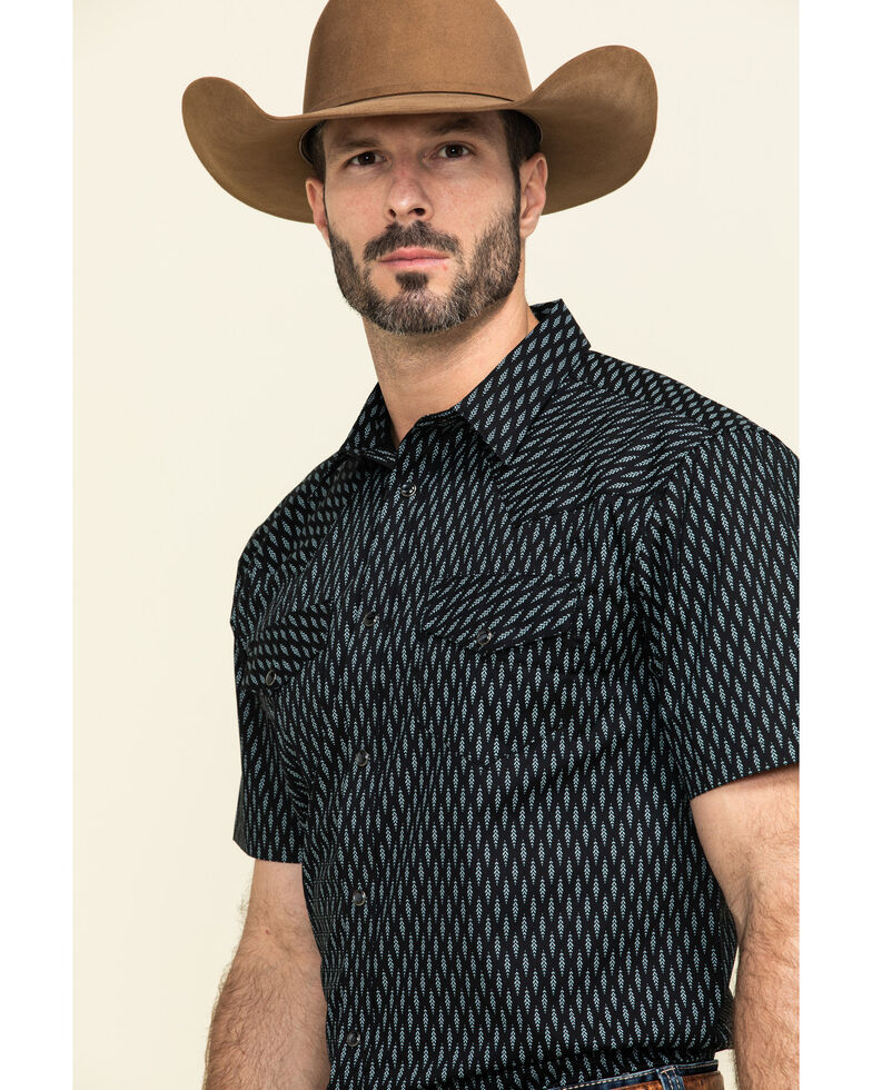 Gibson Men's Wheat Field Geo Print Short Sleeve Western Shirt , Navy, hi-res