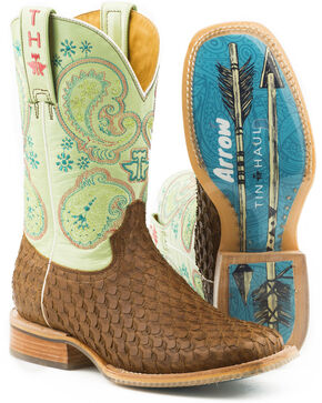 Tin Haul Women's Plume Follow Your Arrow Cowgirl Boots - Square Toe, Brown, hi-res