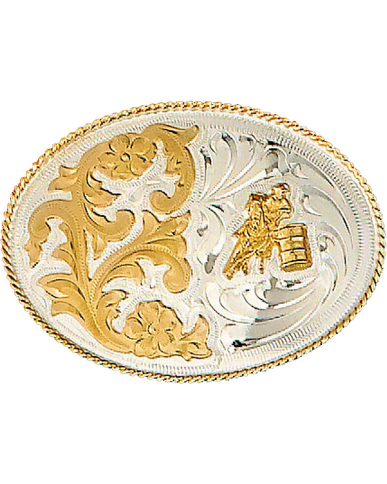 Western Express Women's Silver German Barrel Belt Buckle , Silver, hi-res
