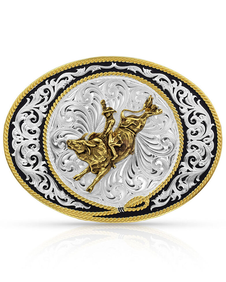 Montana Silversmiths Ranch Rope Bull Rider Buckle, Silver, hi-res