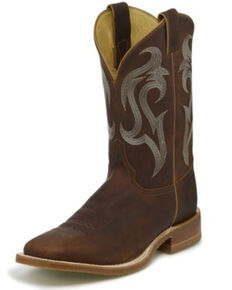 Justin Men's Bender Western Boots - Wide Square Toe, Brown, hi-res