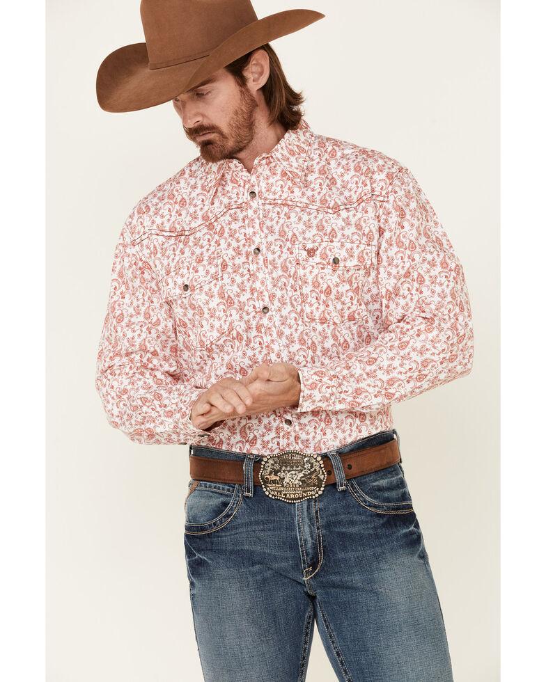Cowboy Hardware Men's Orange Tonal Paisley Print Long Sleeve Snap Western Shirt , Multi, hi-res
