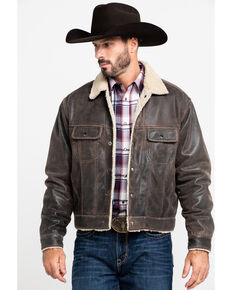 Scully Leatherwear Men's Trail Leather Sherpa Jacket , Lt Brown, hi-res