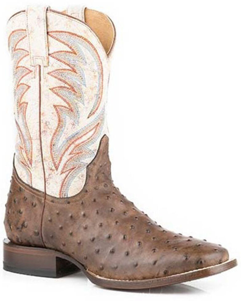 Roper Men's Ostrich Print Western Boots - Square Toe, Brown, hi-res