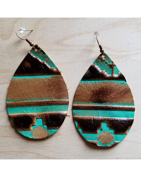 Jewelry Junkie Women's Tribal Teardrop Leather Earrings, Multi, hi-res