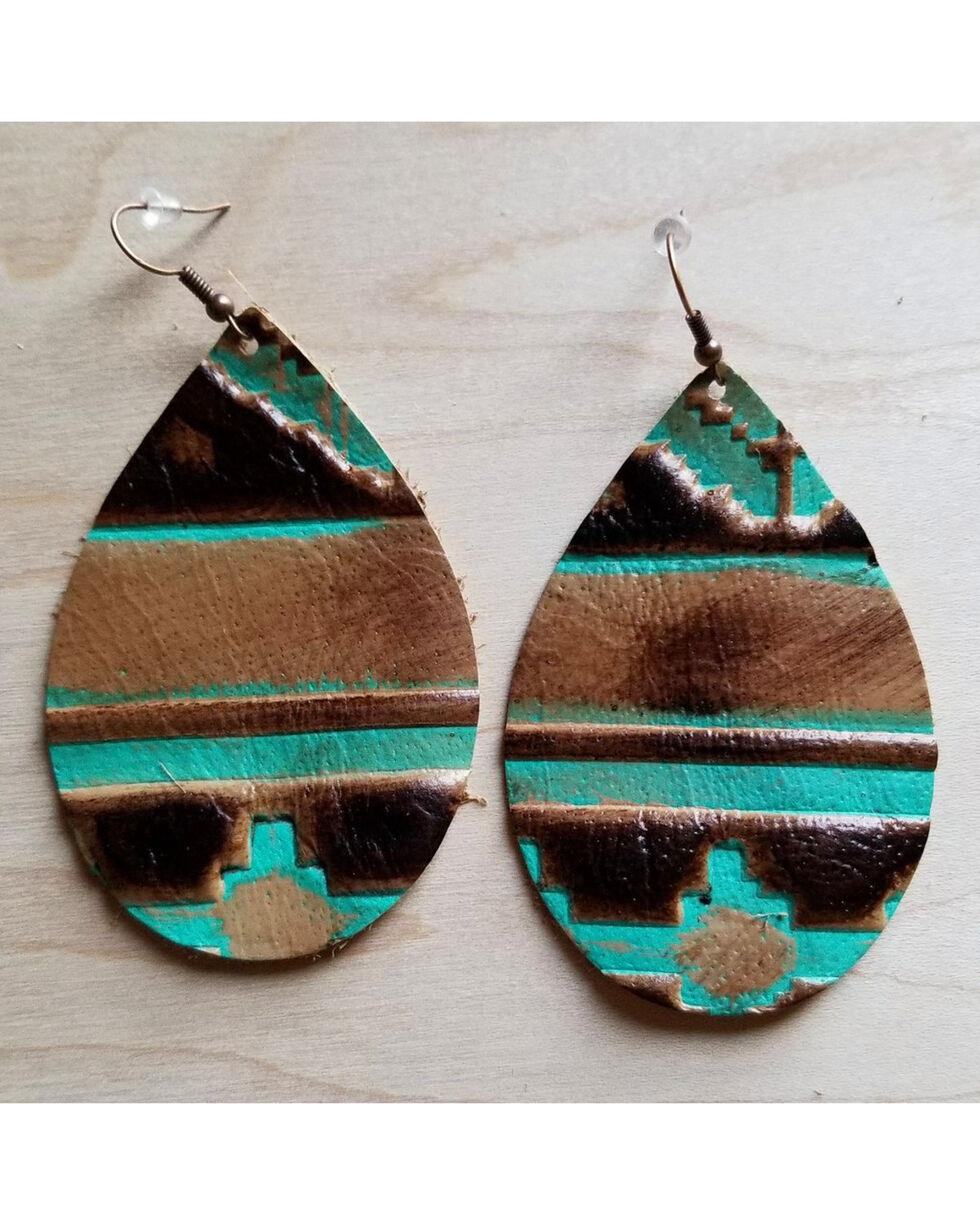 Jewelry Junkie Women's Tribal Teardrop Leather Earrings, Multi, hi-res