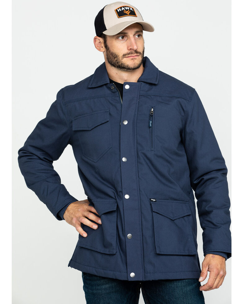 Wrangler Men's Navy Ripstop Quilted Barn Coat , Navy, hi-res