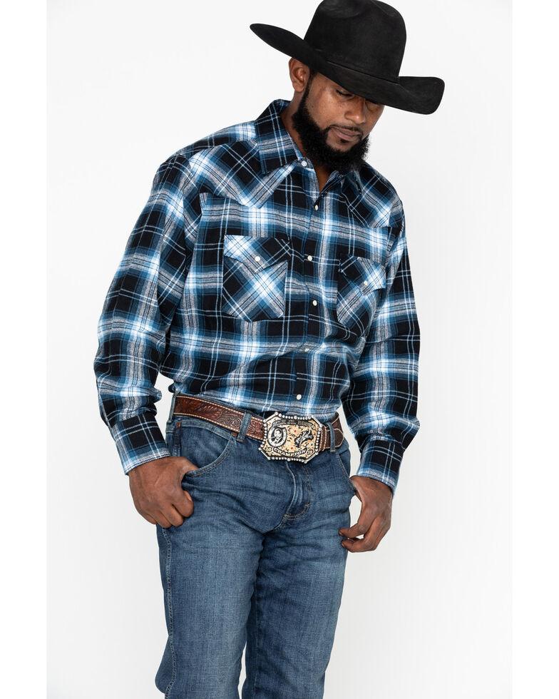 Ely Cattleman Men's Brawny Flannel Long Sleeve Western Shirt - Big , Black, hi-res