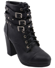 Milwaukee Leather Women's Studded Buckle Strap Laced Booties - Round Toe, Black, hi-res