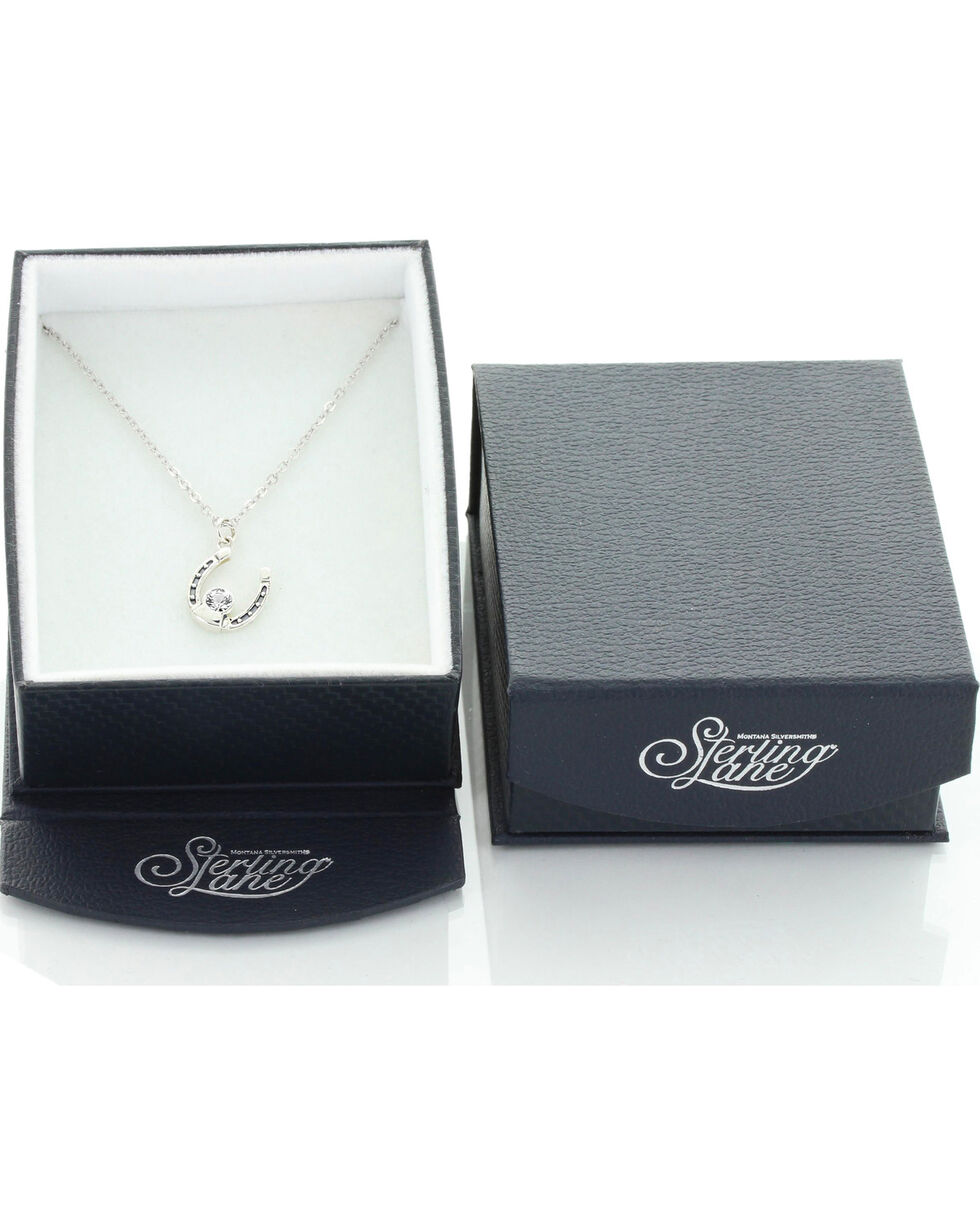 Sterling Lane Women's April Birthstone Necklace , Silver, hi-res