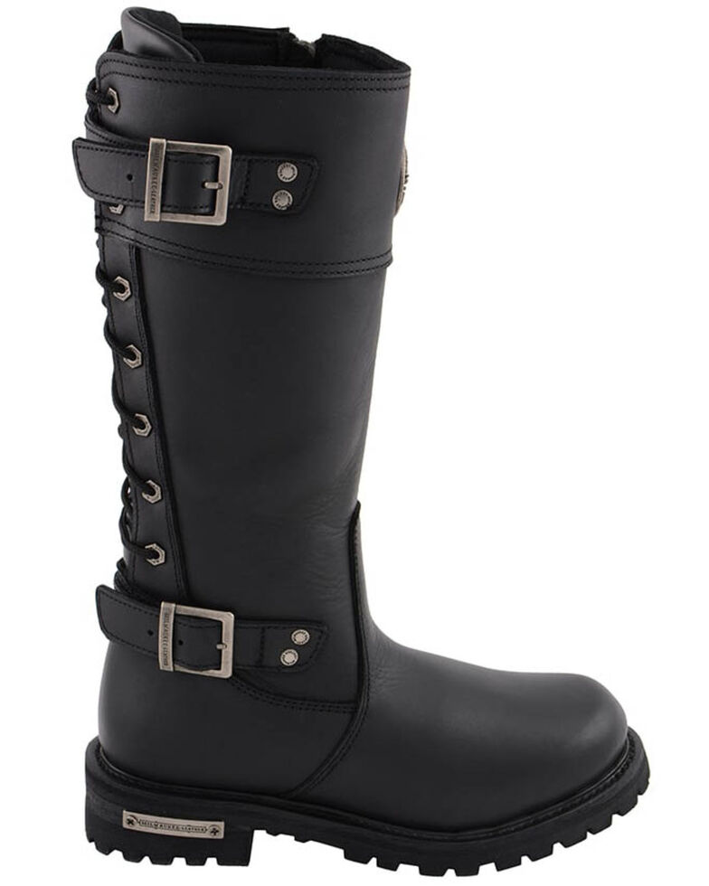 Milwaukee Leather Women's Calf Laced Riding Boots - Round Toe, Black, hi-res