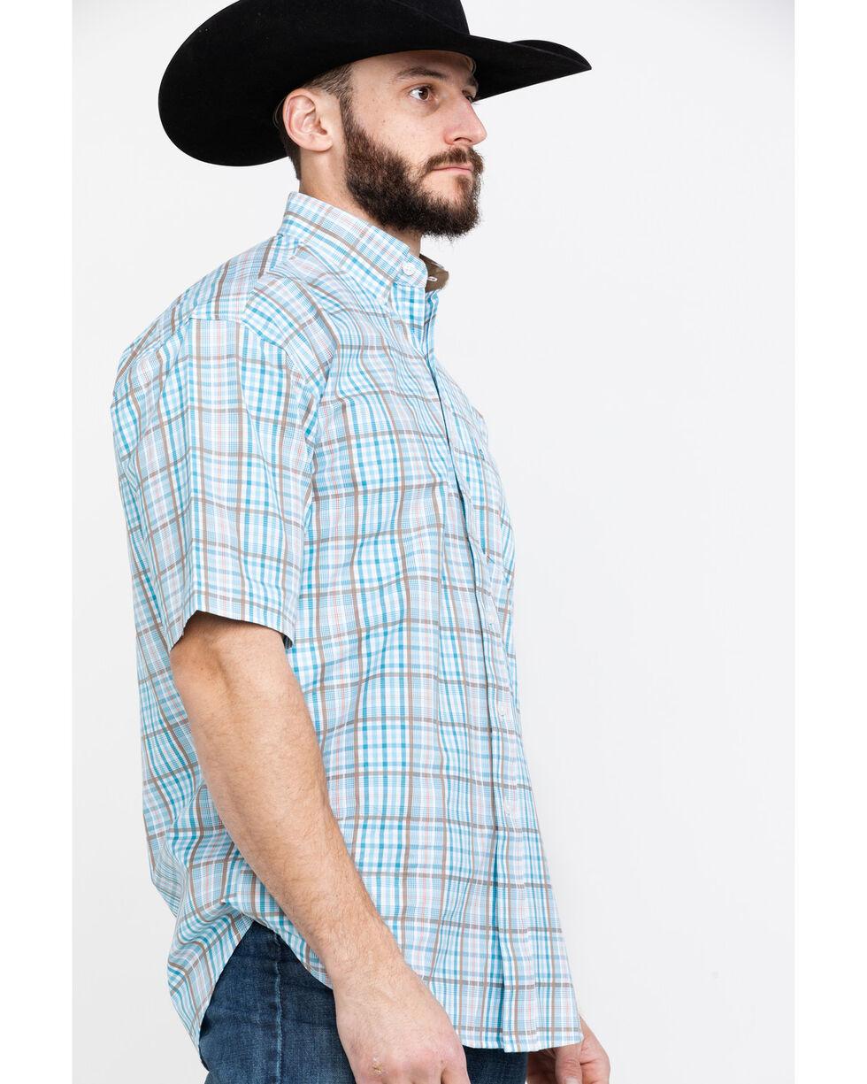 Stetson Men's Blue Small Plaid Short Sleeve Western Shirt , Blue, hi-res