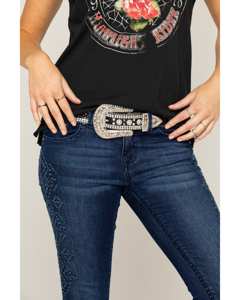 Shyanne® Women's Leather Rhinestone Belt, Black, hi-res