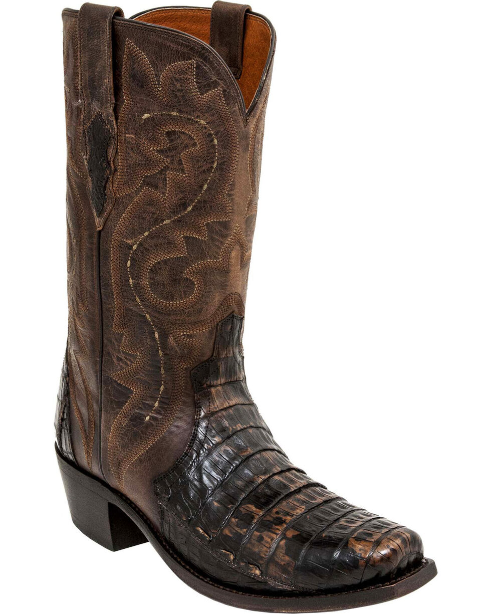 Lucchese Handmade Chocolate Dwight Caiman Cowboy Boots - Square Toe  , Chocolate, hi-res