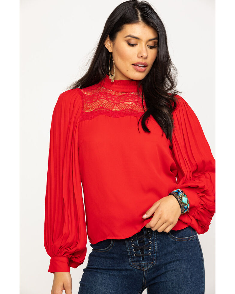 Red Label by Panhandle Women's High Neck Solid Lace Yoke Blouse, Red, hi-res