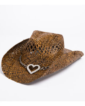 Shyanne Women's Dark Heart Cowgirl Hat, Brown, hi-res