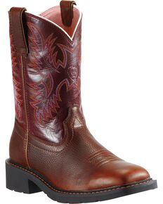 Ariat Women's Steel Toe Krista Western Work Boots, Dark Brown, hi-res
