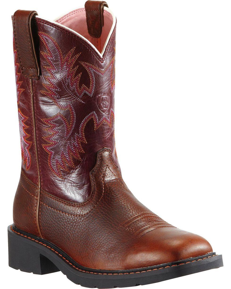 Ariat Women's Steel Toe Krista Western Work Boots, Dark Brown, hi-res