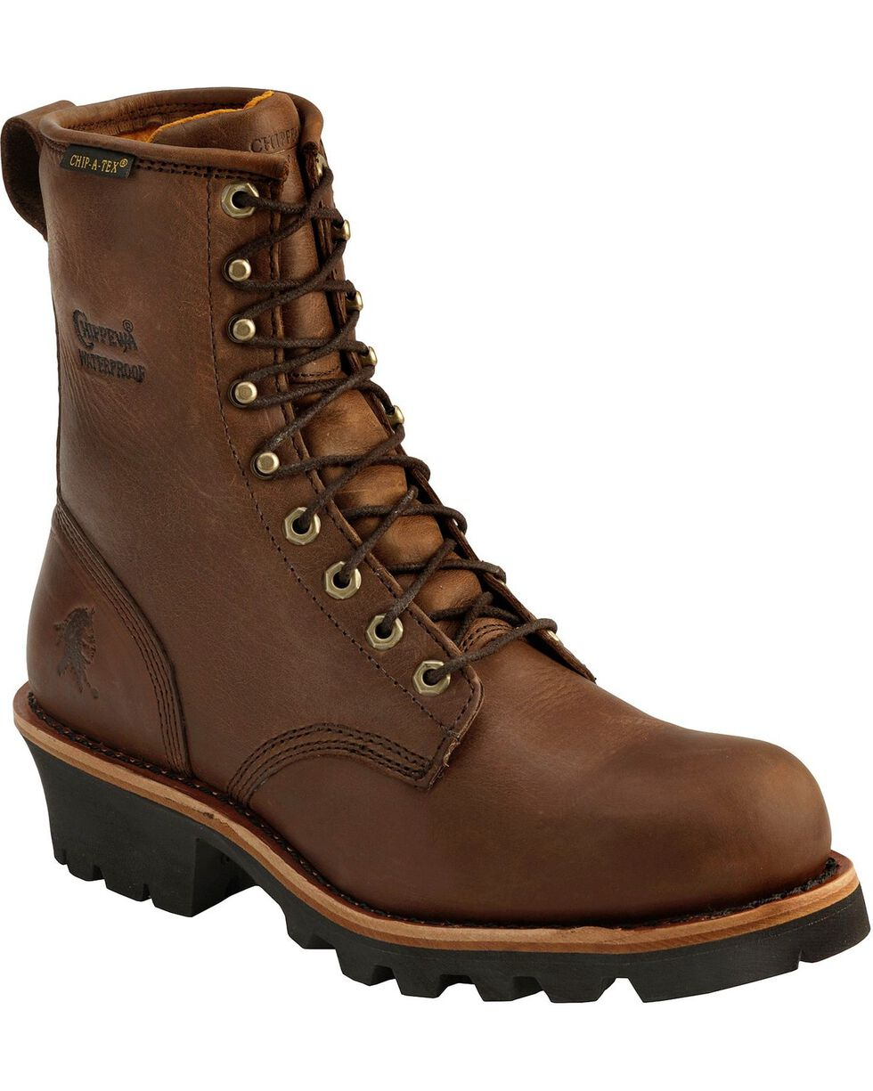 Chippewa Men's Waterprood Steel Toe Logger Work Boots, Bay Apache, hi-res