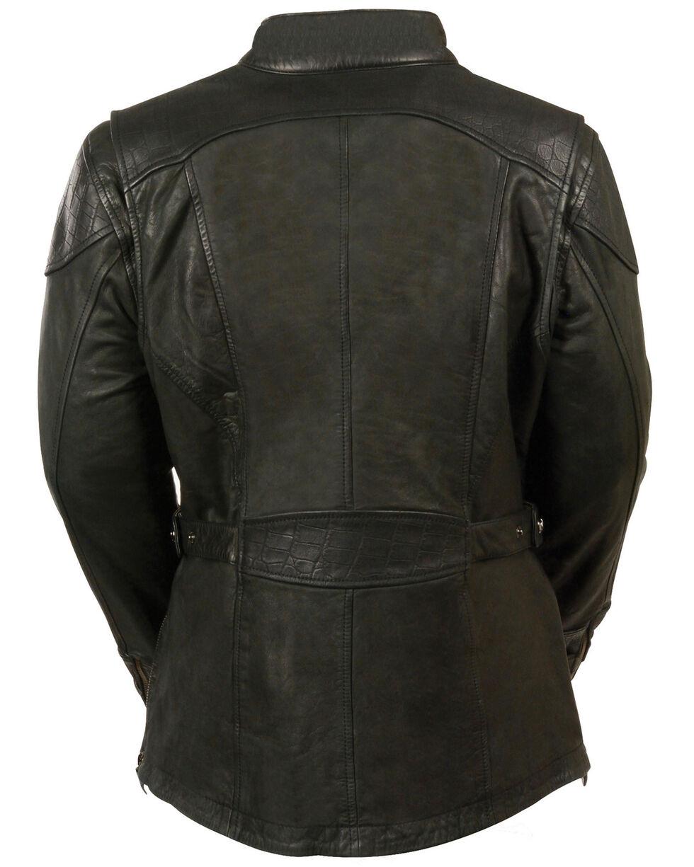 Milwaukee Leather Women's 3/4 Gator Print Motorcycle Jacket - 3X, Black, hi-res