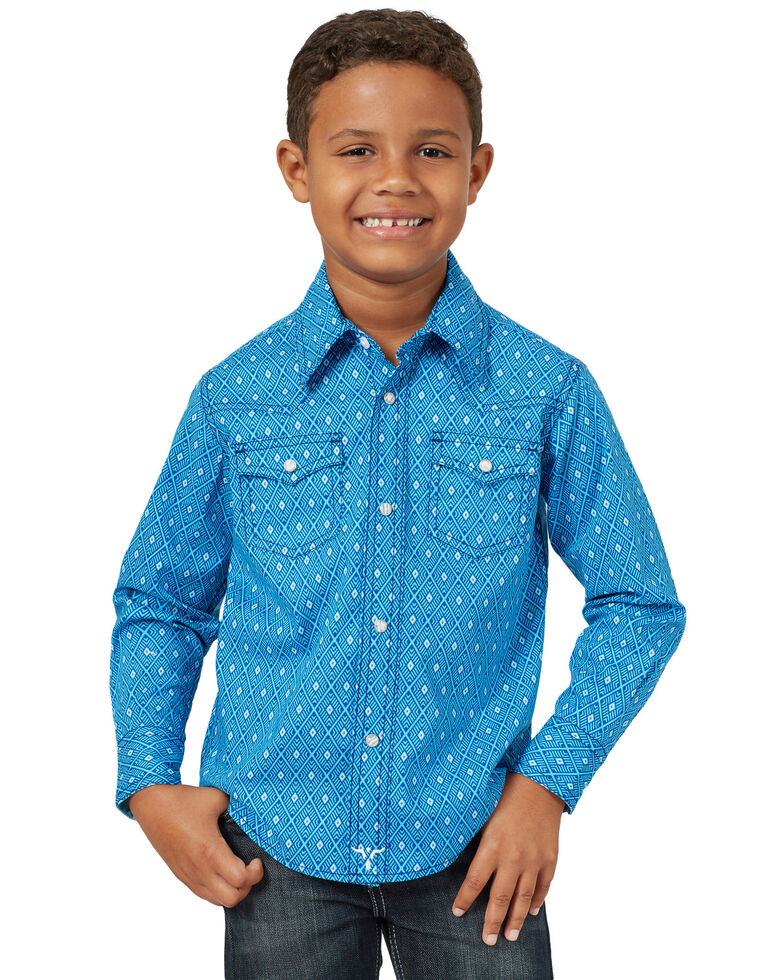 Wrangler 20X Boys' Advanced Comfort Blue Diamond Geo Print Long Sleeve Western Shirt , Royal Blue, hi-res
