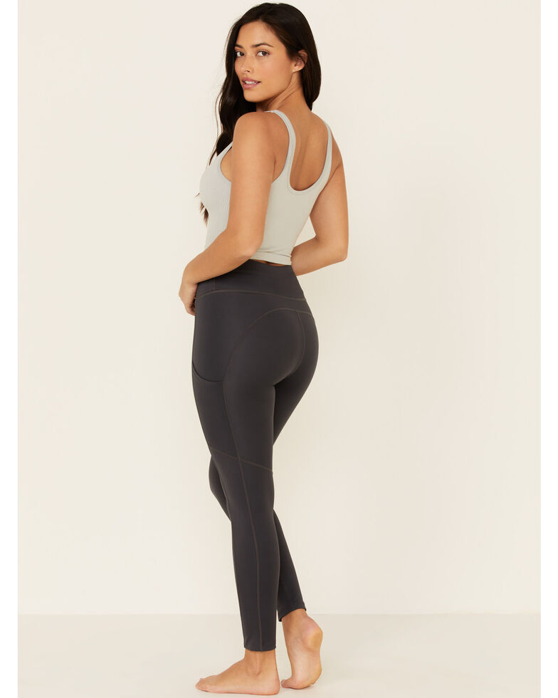 Fornia Women's High Waist Leggings With Side Pockets, Charcoal, hi-res