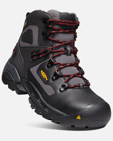 Keen Men's St. Paul Waterproof Work Boots - Carbon Toe, Black, hi-res