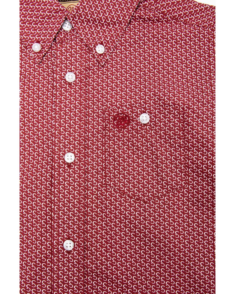 Wrangler Boys' Deep Red Geo Print Long Sleeve Western Shirt , Red, hi-res